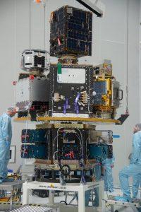 Satélites no Dispensador de Satélites - Créditos ESA (M. Pedoussault)